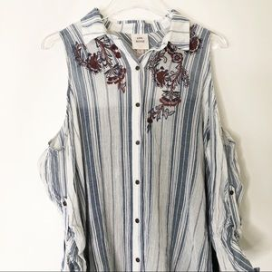 Knox Rose Tops - Embroidered cold shoulder top